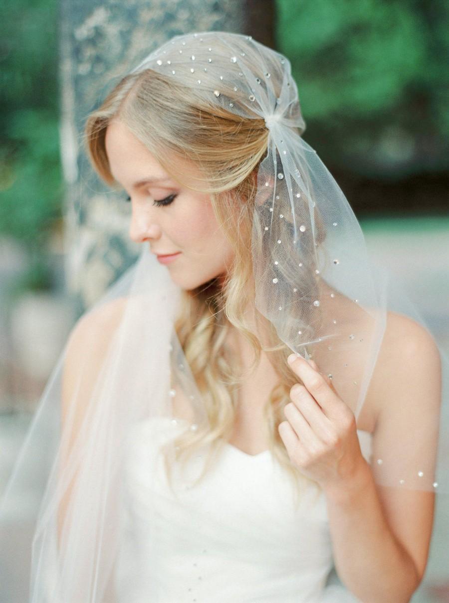 Mariage - Rhinestone juliet cap veil, cap veil, tulle veil, juliet veil, crystal veil, wedding veil, bridal veil, Style V37