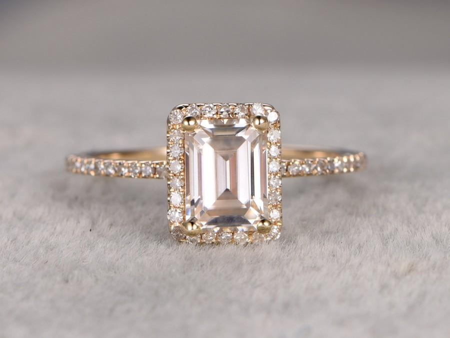 1 2ct Moissanite Engagement Ring 14k Yellow Gold Diamond Wedding Band 5x7mm Emerald Cut Gemstone Promise Bridal Ring Anniversary New Design 2680183 Weddbook