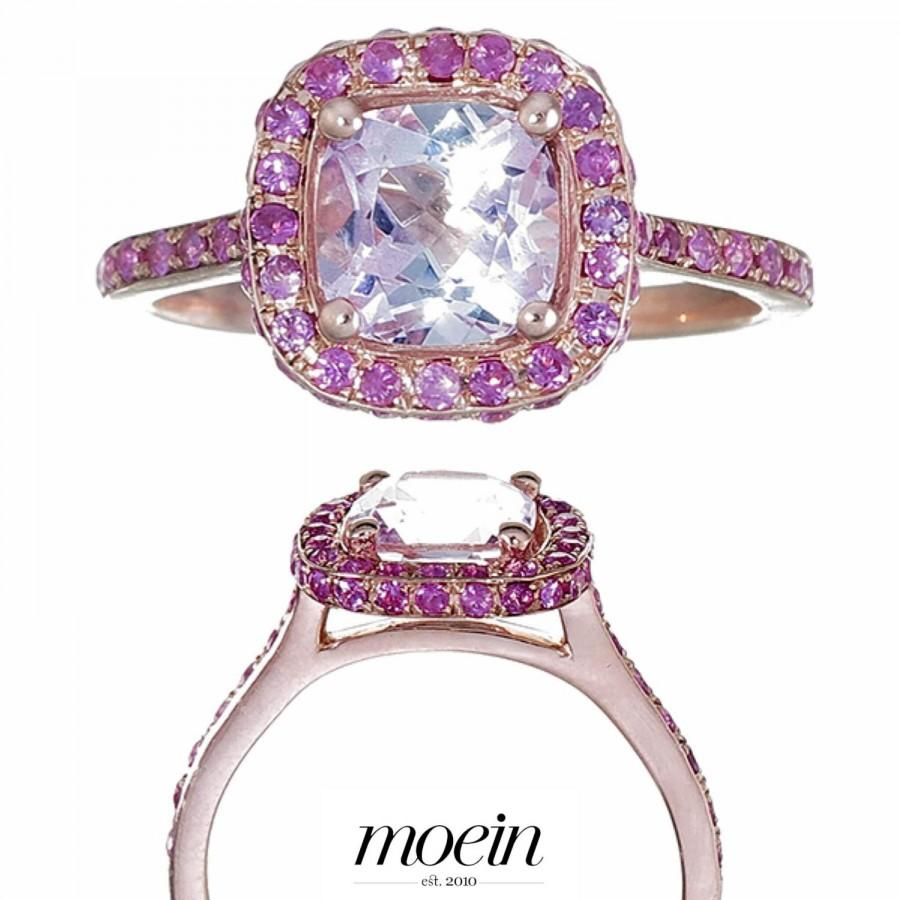 Свадьба - Pink Topaz Rose Gold Cushion Engagement Ring with Pink Sapphires Handset