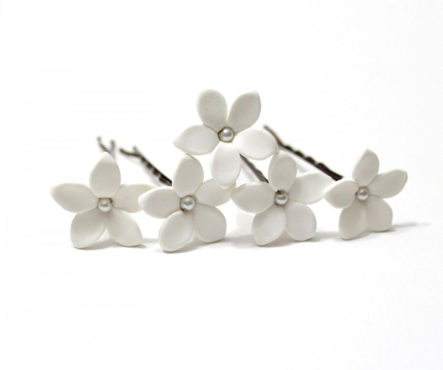 Wedding - White Jasmine Flower Accessories Hair pin - Jasmine Wedding Hair Accessories, Wedding Hair Flower Hair  Small Hair Flowers - set