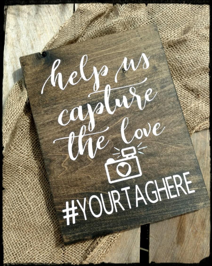 Mariage - Wedding Hashtag Sign, Rustic Wedding Hashtag Sign, Hand Painted Sign, Wedding Sign, Wedding Decor