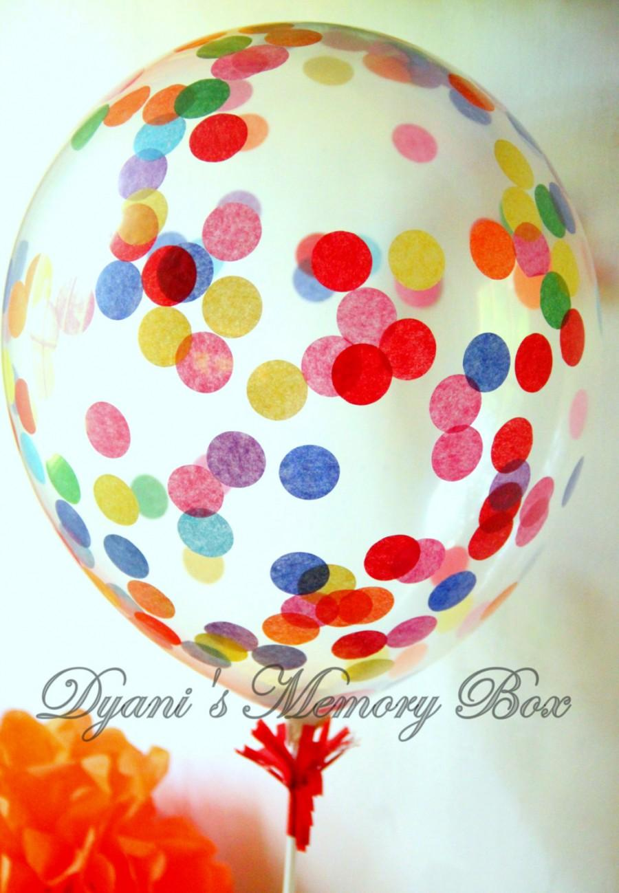 Mariage - Clear Rainbow Confetti-Filled Balloon / Biodegradable Latex Balloon / Confetti Balloons / Rainbow Party Decor / Sprinkle Balloon