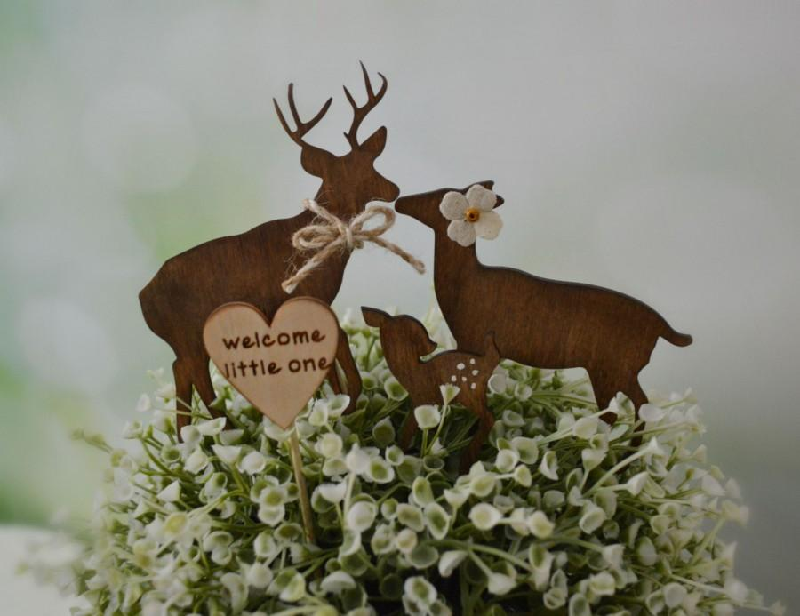 Mariage - Deer wedding cake topper baby shower camouflage hunter themed cake topper deer family buck doe fawn bride groom wood silhouette rustic