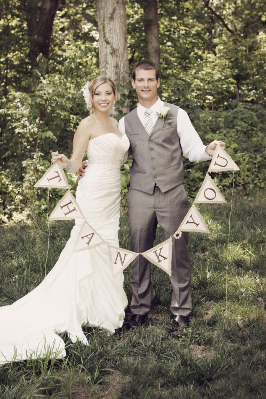 Mariage - Burlap and Canvas Thank You Banner