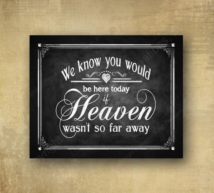 Mariage - We Know you would be here today if Heaven wasn't so far away - PRINTED chalkboard wedding signage - Rustic Heart Design