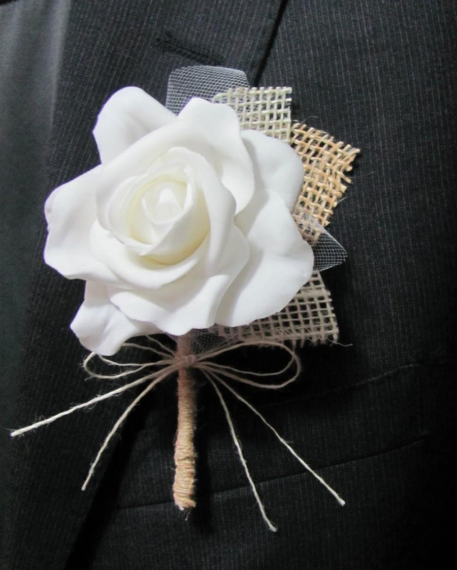 Mariage - Boutonniere Burlap & Lace - Rustic Vintage - Wedding / Event Supplies