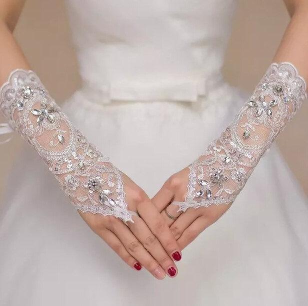 Mariage - White Tulle gloves fingerless gloves Rhinestone gloves wedding gloves  lace flower gloves grace gloves bridal gloves in handmade