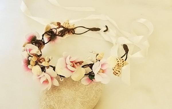 Wedding - seashell headpiece,seashell headband,seashell hair accessories,seashell crown,beach wedding,seashell tiara,seashell hair comb,seashell crown - $74.00 USD