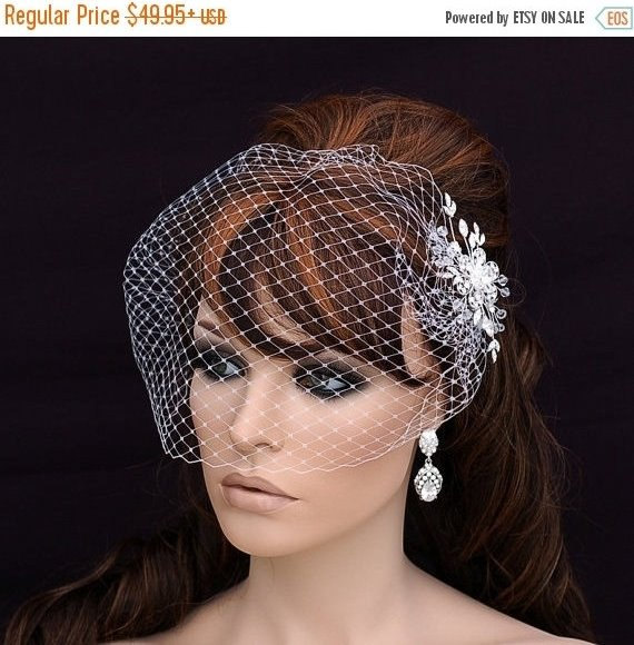 Mariage - Cage Veil Crystal Comb and Birdcage Veil Ivory  White  Black  Blusher Bridal Wedding Comb , 1 Tier Veil , Bridal Hair Accessories