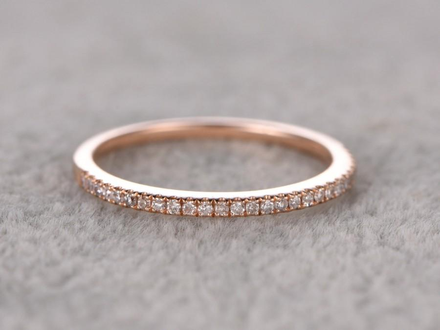 Wedding - Thin design,Diamond Wedding Ring,Solid 14K Rose gold,Anniversary Ring,Half Eternity Band,stackable ring,milgrain,Matching band,Micro pave