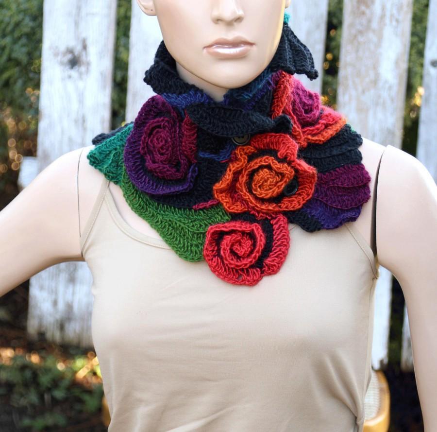 Mariage - Crochet Scarf Unique cowl Woman winter fashion crochet flower shawl Capelet Neck Warmer Freeformcrochet Women Freeform Crochet Roses Rainbow