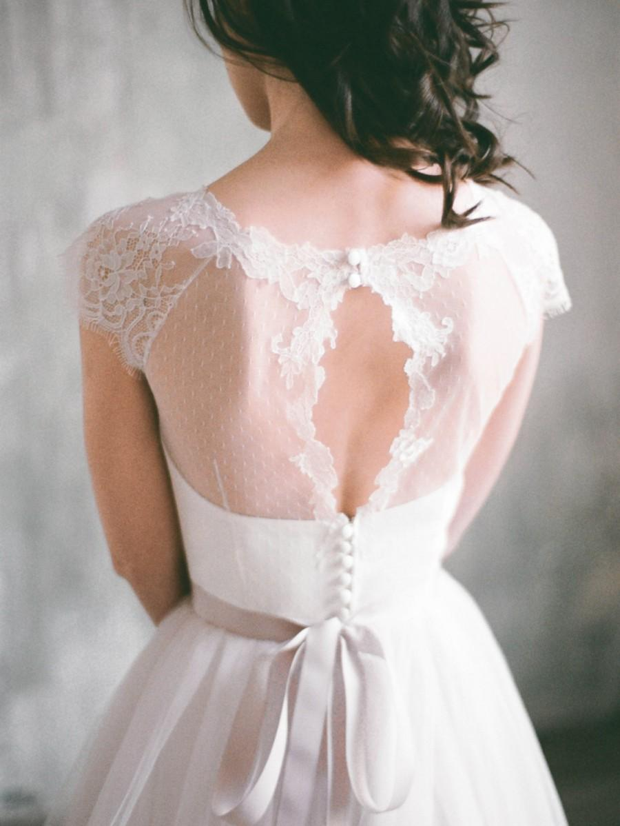 Wedding - Angara - keyhole back short sleeve wedding dress, tulle wedding gown with dotted tulle bodice, sweetheart shaped corset gown, lace sleeves