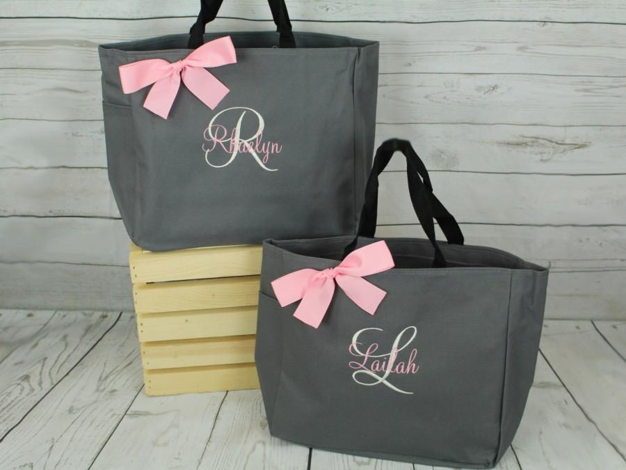 Hochzeit - 3 Personalized Bridemaid Gift Tote Bags Personalized Tote, Bridesmaids Gift, Monogrammed Tote