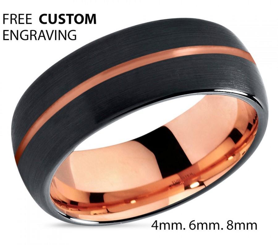 Black Tungsten Ring Rose Gold Wedding Band Carbide 8mm 18K Man Male Women Anniversary Matching