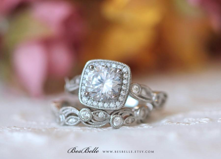 Wedding - 2.05 ct.tw Leaf & Vine Art Deco Halo Bridal Set Ring-Brilliant Cut Diamond Simulant-Wedding Set Ring-Solid Sterling Silver [65242-2]