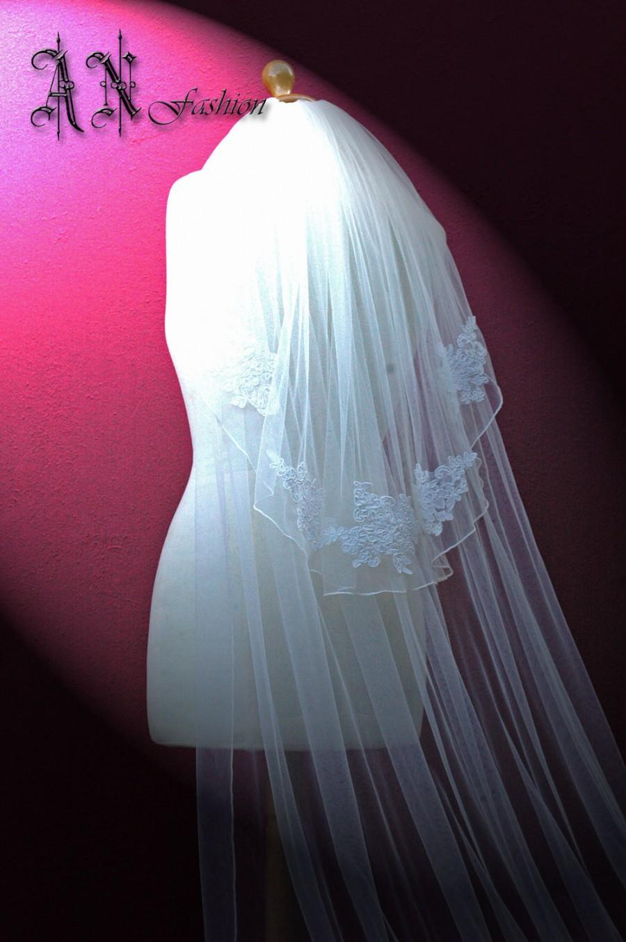 Mariage - Two Tier Long Lace Edge Bridal Veil. Soft Wedding Veil.Bridal Lace Veil.Ivory Lace Wedding Veil.Soft Tulle Vell.Long Lace veil. Alencon Lace