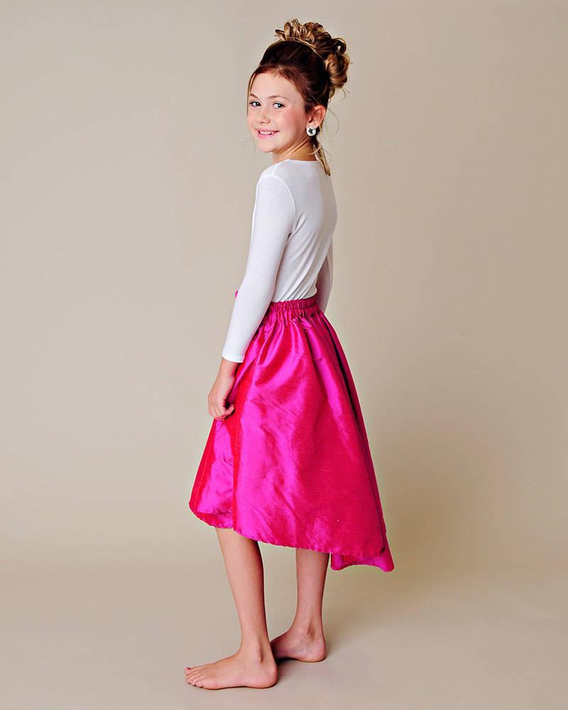 8ddee017f5 Ashtyn Flower Girl Silk Skirt, Hot Pink Skirt for Girls, Turquoise Skirt  for Girls, Girls Silk Skirt, Spring Weddings