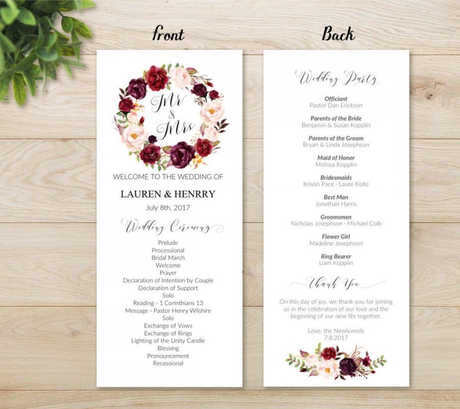 Floral Wedding Program Template Printable Bohemian