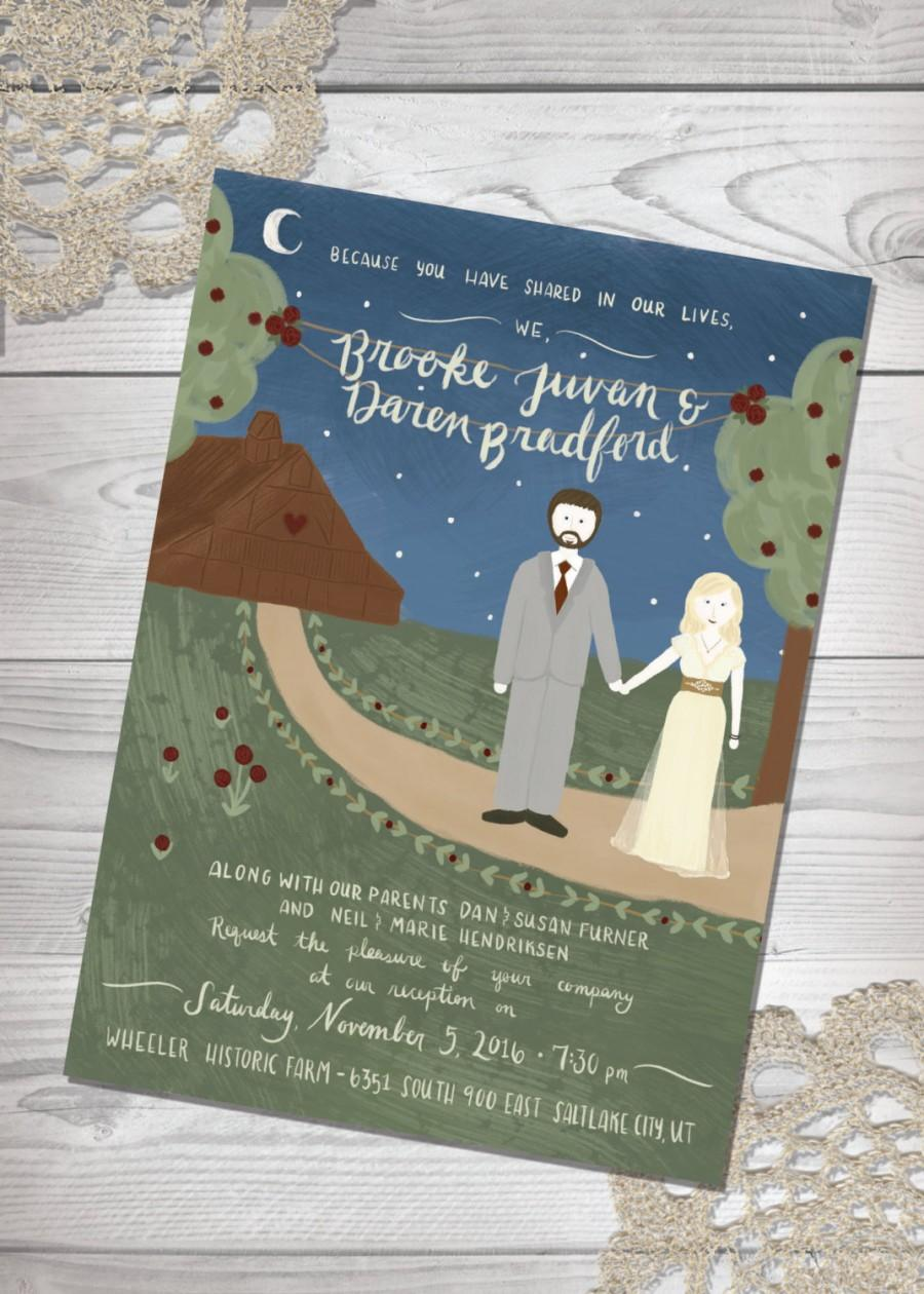 Custom Illustrated Wedding Invitation - Couple Illustration ...