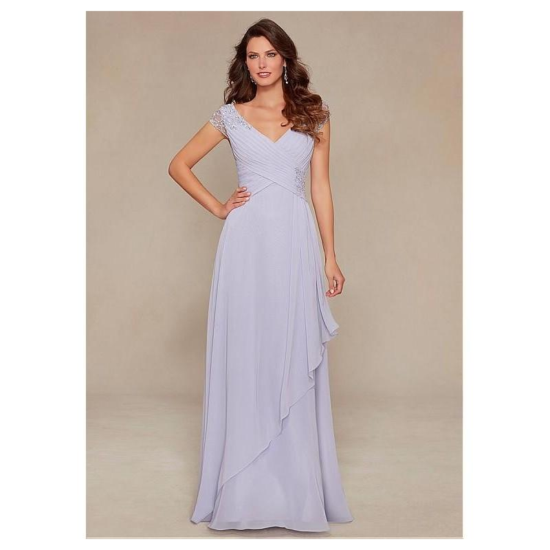 Hochzeit - Chic Chiffon V-neck Cap Sleeves Floor-length Mother of the Bride Dresses - overpinks.com
