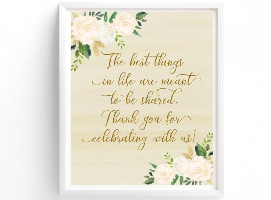 Thank You Sign PRINTABLE Wedding Reception Guest Printable Custom Ivory Gold White