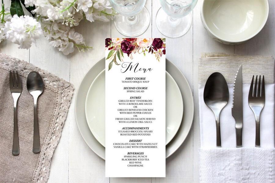 printable rose wedding menu template custom wedding menu editable