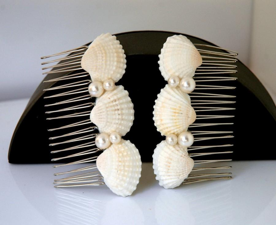 Wedding - Beach Wedding Hair Accessories Seashell and Pearls Hair Comb Set Bridal Hair Comb Shell Hair Comb Boho Wedding Nautical Beach Hair Comb - $29.00 USD