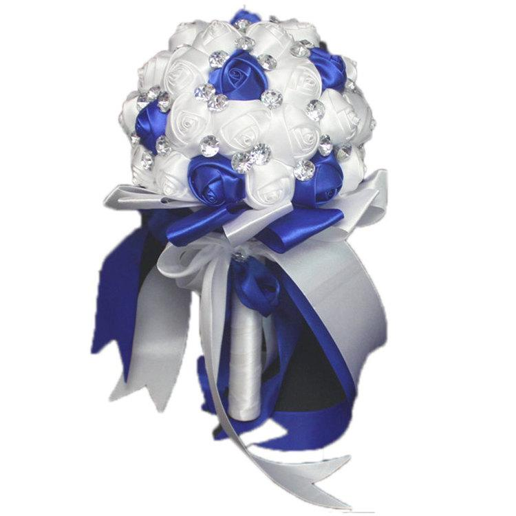 Mariage - Handmade Royal Blue  White Satin Rose Bridal Wedding Bouquet Flower Girl Bridesmaid Holding Flowers Crystal Accents