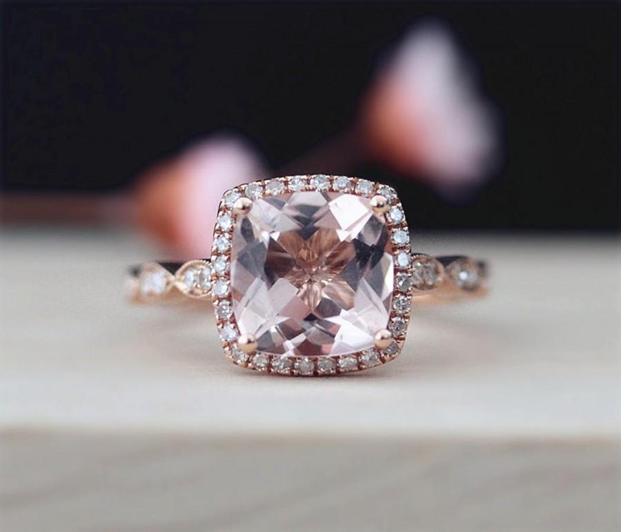 Свадьба - Art Deco 8mm Cushion Cut Morganite Engagement Ring Pave Half Eternity Diamonds Wedding Ring 14K Rose Gold Engagement Ring