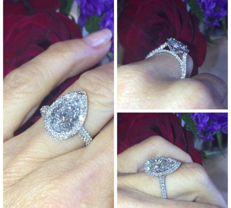 Wedding - Forever one Moissanite & Diamond  Engagement Ring 18k White Gold 10x7mm Pear Shaped Center .85ct Natural Diamond Halo Anniversary ring