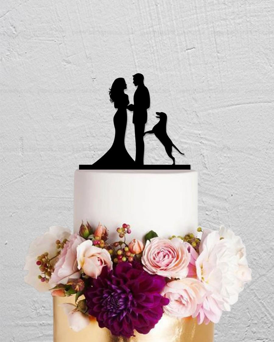 Mariage - Wedding Cake Topper,Bride And Groom Cake Topper With Dog,Couple Cake Topper,Custom Cake Topper,Dog Cake Topper,Personalized Cake Topper