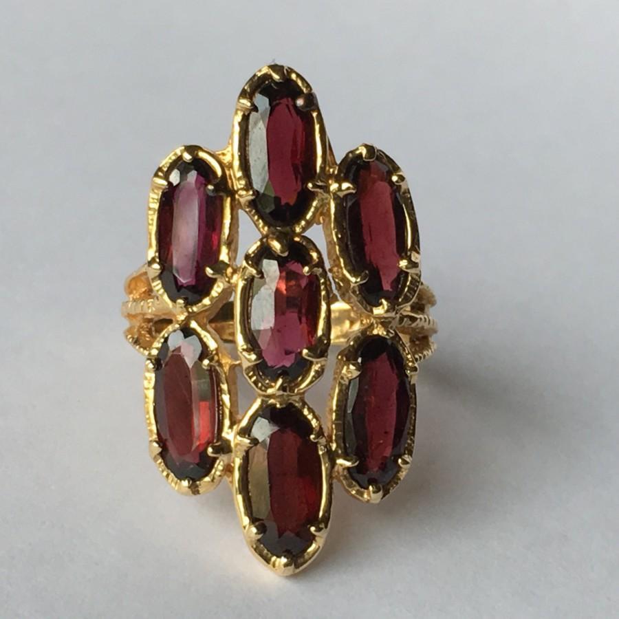 Mariage - Vintage Garnet Cluster Ring. 14k Yellow Gold. Hattie Carnegie Statement Ring. Unique Engagement Ring. January Birthstone. 2nd Anniversary.