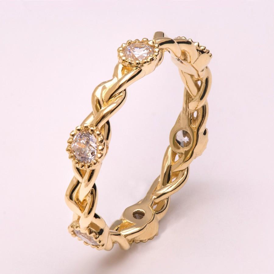 Mariage - Braided Moissanite Engagement Ring, Braided Eternity Ring, celtic ring, Unique engagement ring, wedding band, celtic eternity ring, 2E