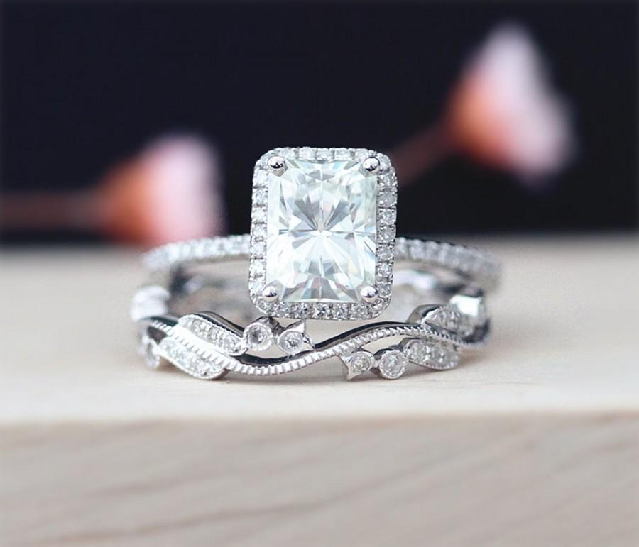 Mariage - 3Ring Set Moissanite 6*8mm Radiant Cut Moissanite Engagement Ring Art Deco  Full Eternity Pave Diamonds Band 14K White Gold Ring