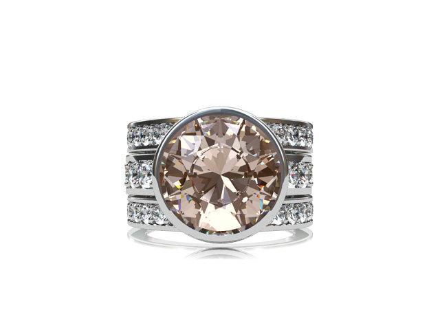 Mariage - Peach morganite Engagement ring set,  white gold, rose gold, yellow gold, white sapphire, peach morganite engagement, wedding band, unique