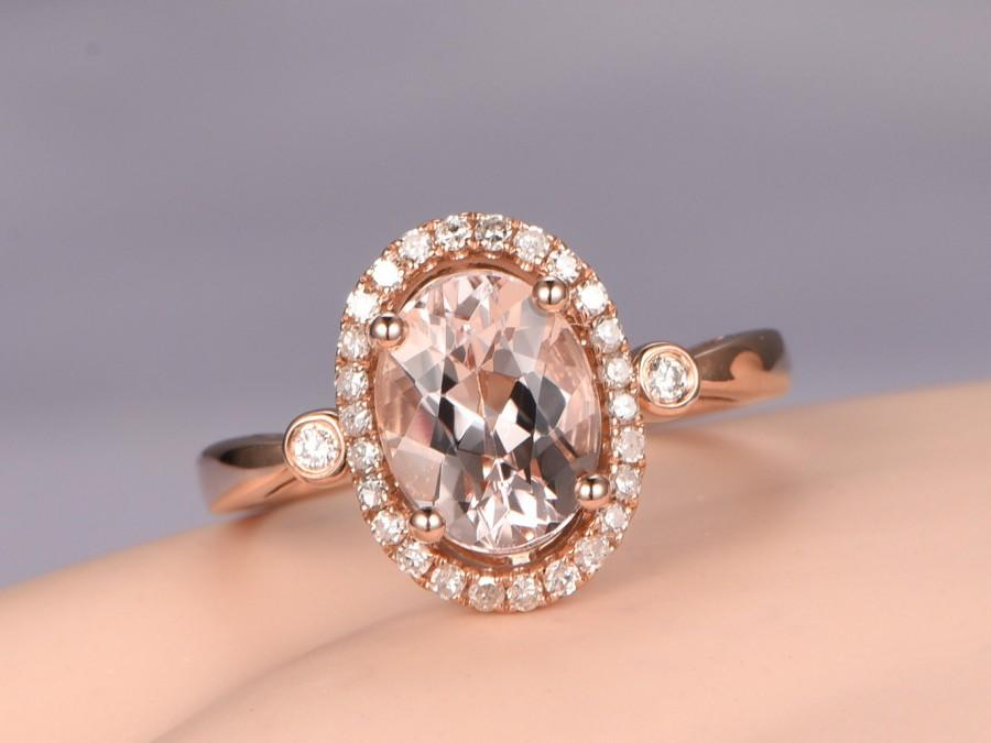 Mariage - Oval 6x8mm Morganite ring,diamond engagement ring,solid 14k Rose gold band,Pink gemstone,bridal,halo promise ring