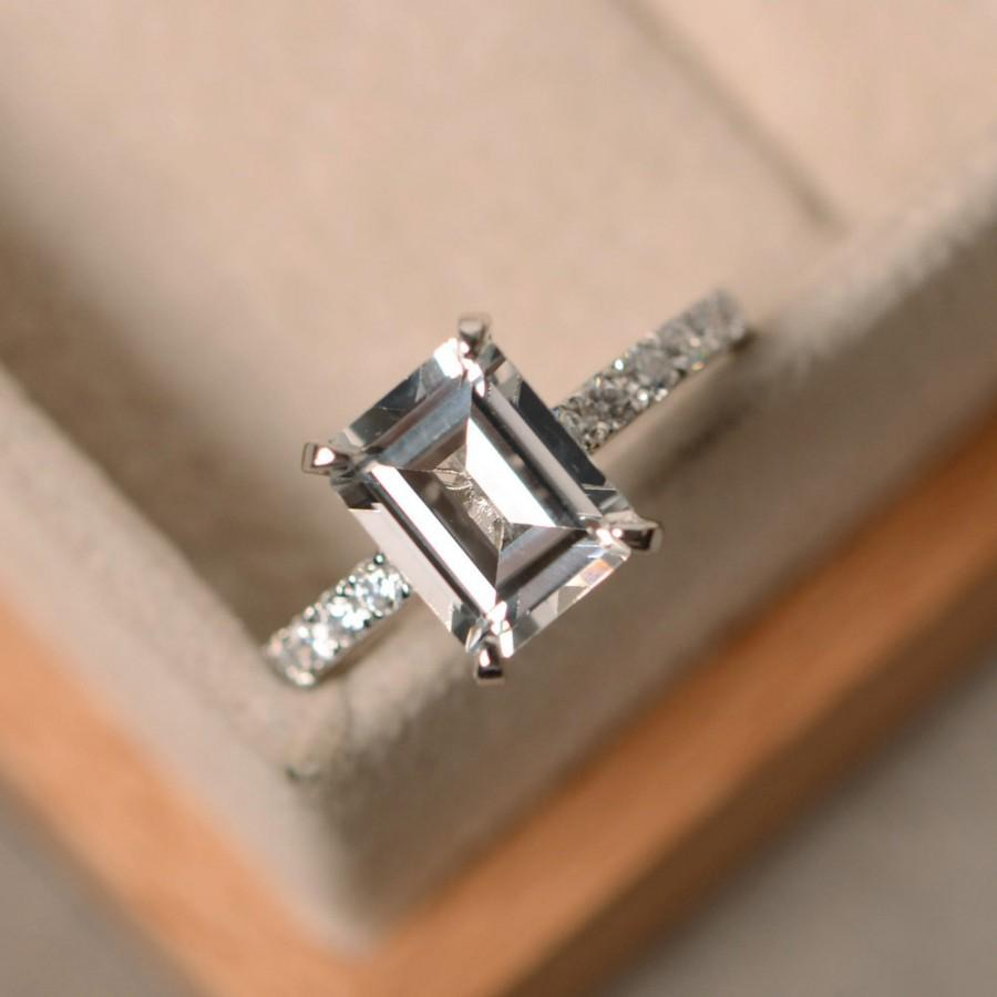 Mariage - White topaz engagement ring, sterling silver, emerald cut white topaz ring, promise ring