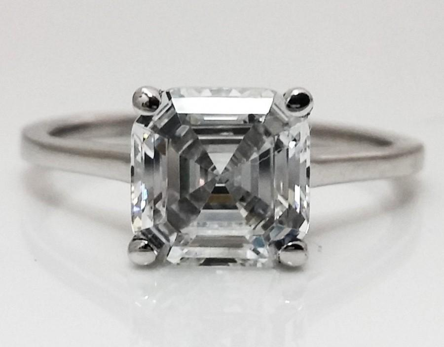 Mariage - 2.00 CT Asscher Cut Engagement/Wedding/Promise  Ring Solid 14K White Gold Item #4576
