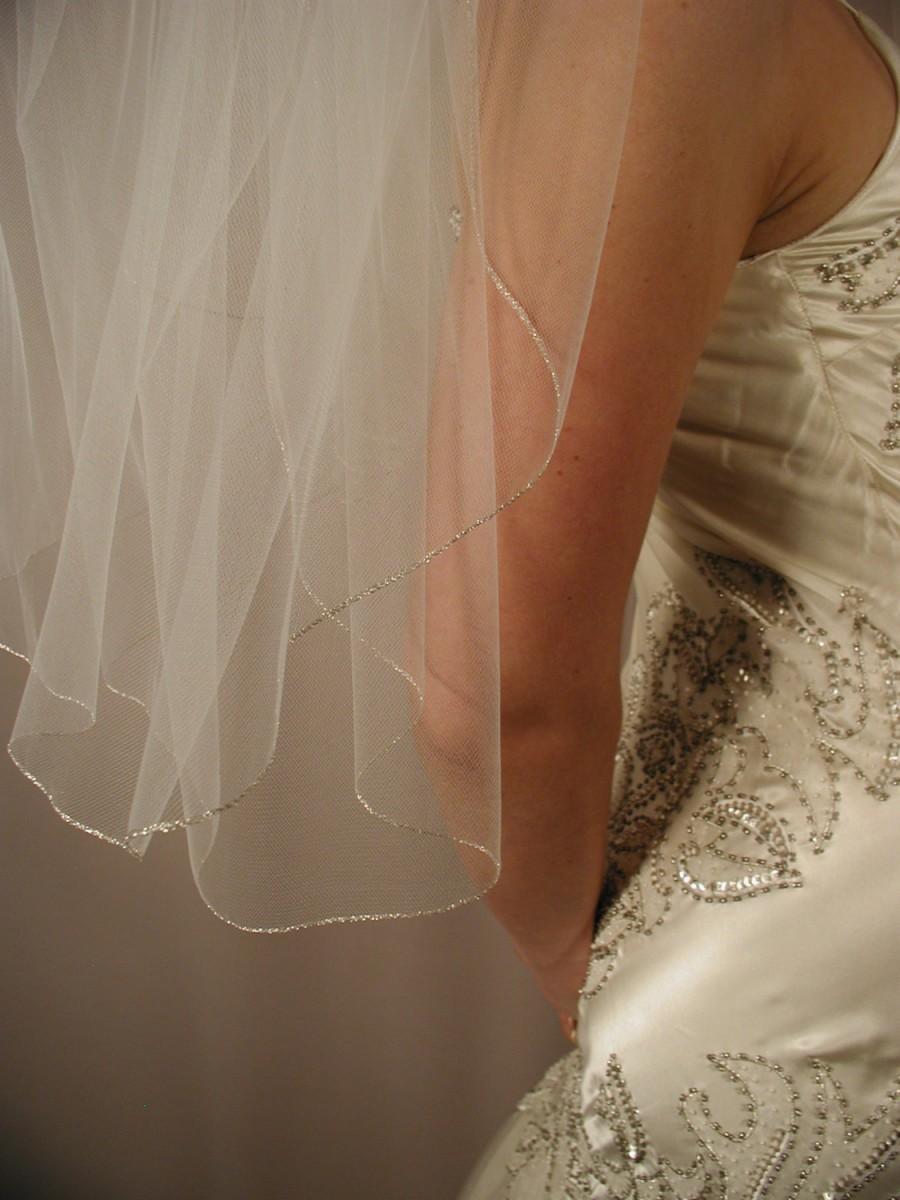 """زفاف - Silver edging Wedding veil. Bridal veil. 30"""" elbow length wedding veil with silver pencil trimmed."""