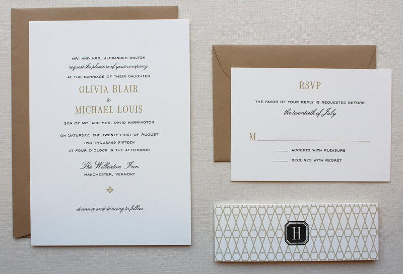 Wedding Invitations Elegant Invitation Black And Gold Set With Clasic Pattern Belly Band Vermont Sample