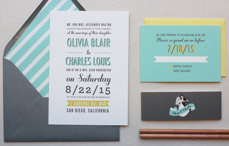 Hochzeit - Wedding Invitations, Modern Wedding Invitation, Unique, Wedding Couple, Typography, Custom Wedding Invitation - Poster Type Sample