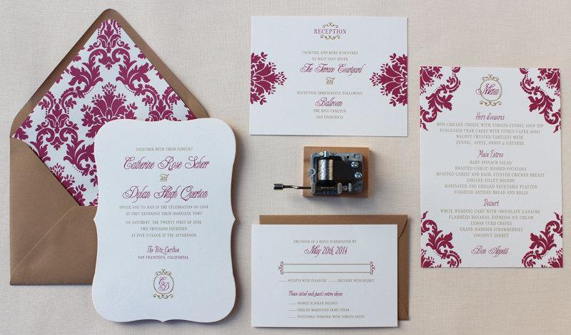Hochzeit - Bracket Wedding Invitation, Die-cut Wedding Invitation, Elegant, Damask Pattern, Calligraphy Wedding Invitation - Parisian Damask Sample