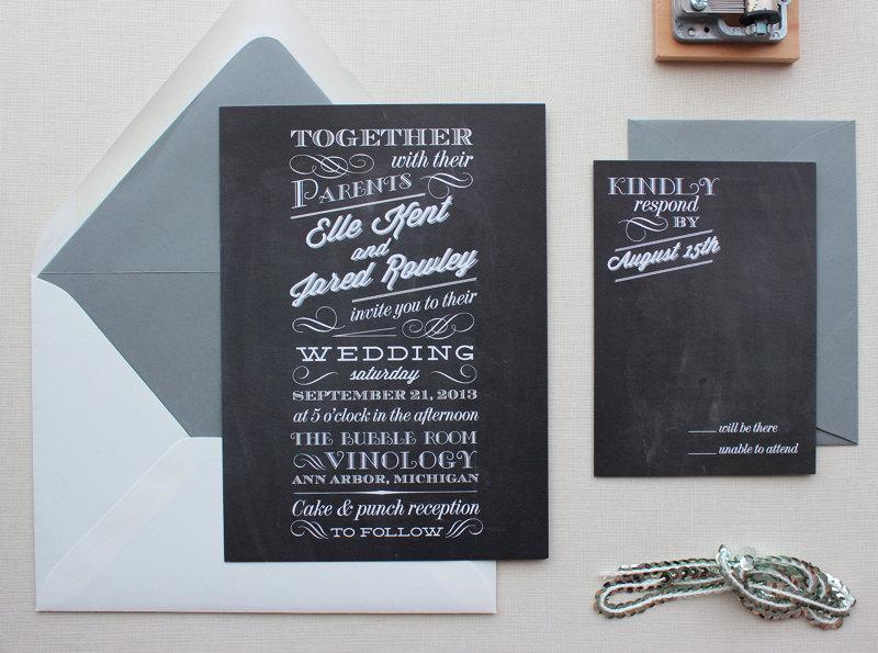 Wedding - Rustic Wedding Invitation, Wedding Invitations, Modern, Typography, Custom Wedding Invitation Set - Chalkboard Sample