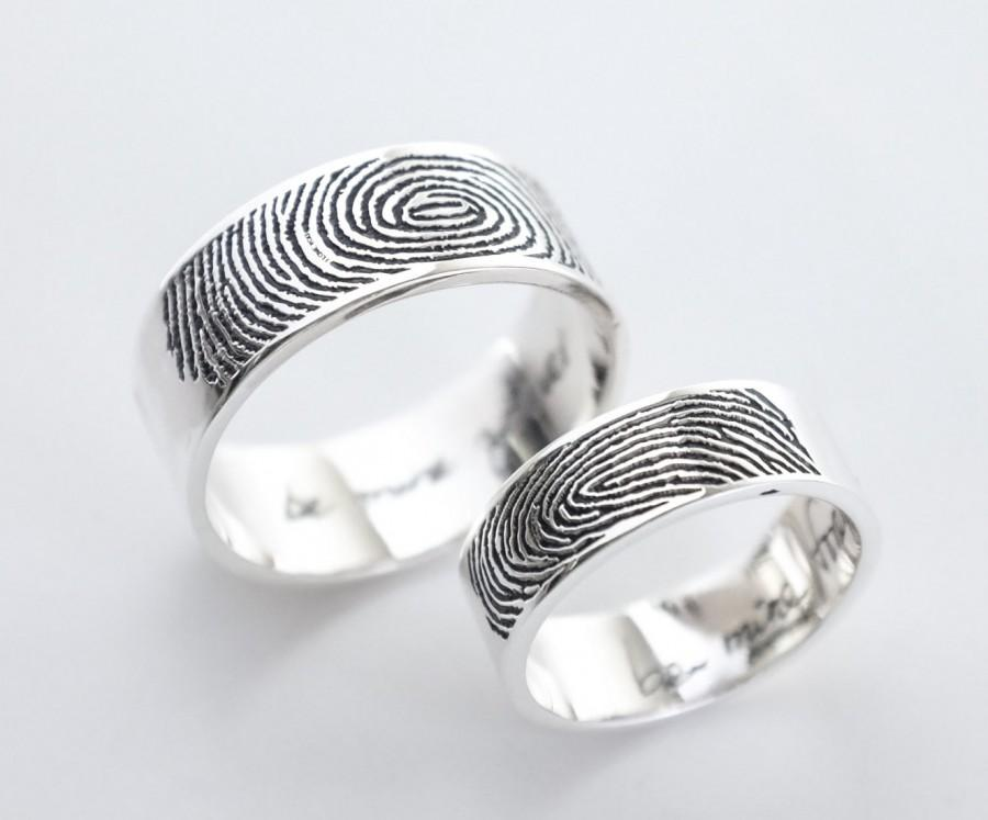 Set Of 2 Actual Fingerprint And Handwriting Rings Personalized