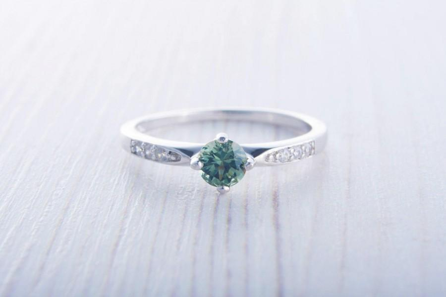 Свадьба - Green Sapphire Solitaire engagement ring  - Available in white gold or sterling silver - handmade ring