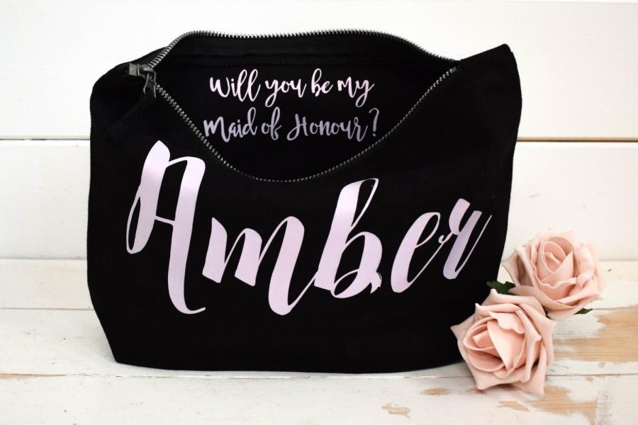 Mariage - Will you be my Bridesmaid Gift Make Up Bag - Personalised Cosmetic Bag, Maid of Honour Gift, Unique Gift for Bridal Party Bags,  Makeup Bags