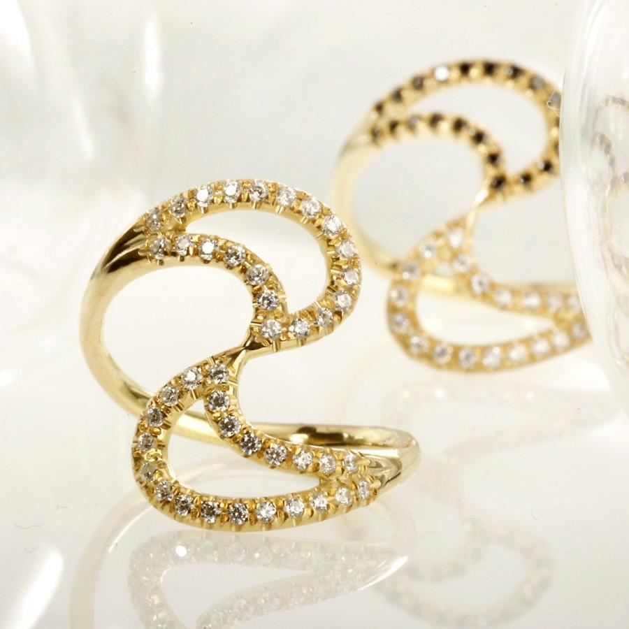 Mariage - Black Diamond Ring, Yin and Yang 14K Gold Ring, Anniversary ring, Multi-stone Women's Engagement Ring, 0.42 ct Multi Diamonds ring, RG-1196