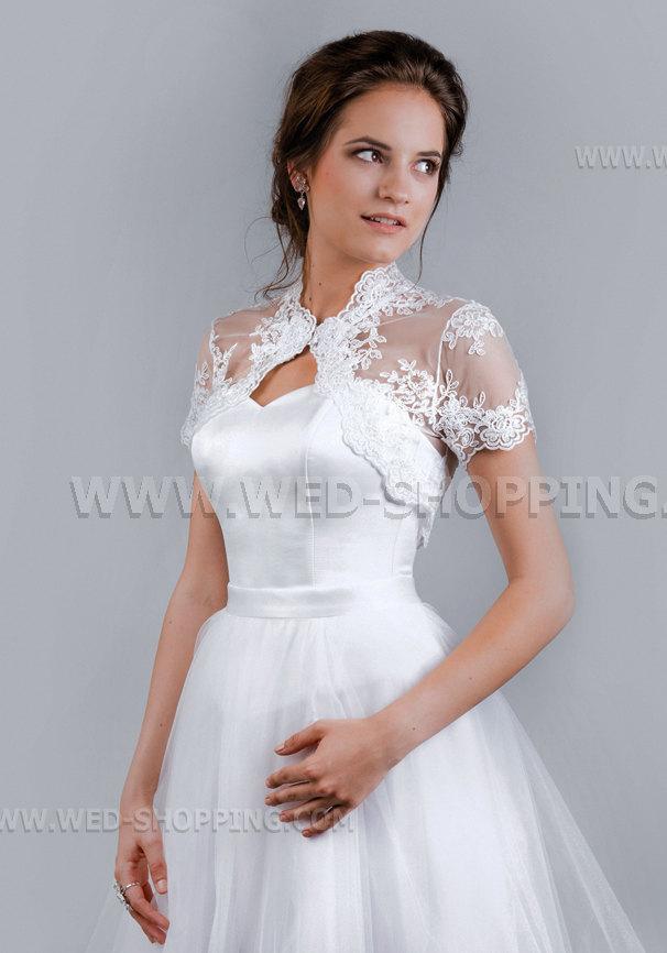 Mariage - Wedding bridal lace bolero jacket short sleeves E1508 ivory white boleero shrug