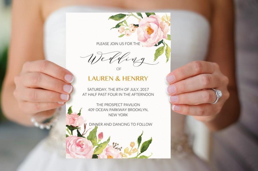 Peony Wedding Invitation Template, Printable Floral Wedding ...