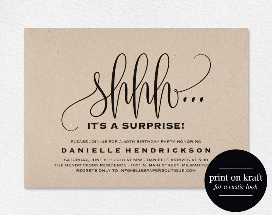 Surprise Birthday Invitation, Surprise Party Invitation, 50th ...